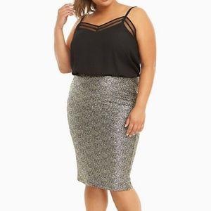 NWT Torrid Gold Metallic Knit Pencil Skirt Size 2
